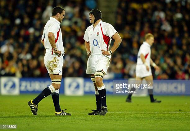 Martin Johnson and Ben Kay of England discuss tactics during the Rugby Union International match between New Zealand and England held on June 14 2003...