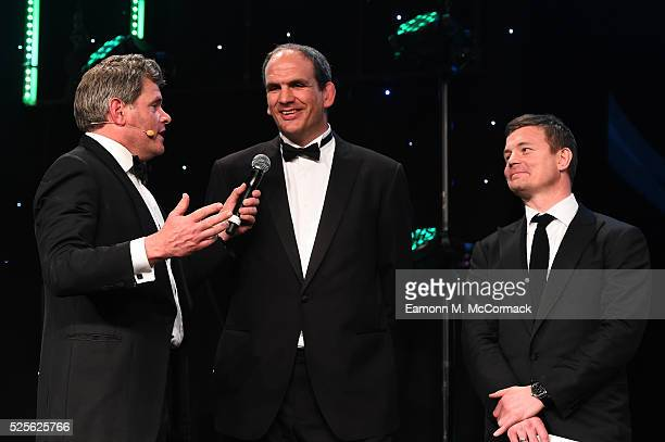 Martin Johnson and Brian O'Driscoll talk on stage with Mark DurdenSmith before presenting the Best International Marketing Campaign in association...