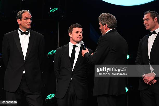 Martin Johnson Brian O'Driscoll and Ali Williams talk on stage with Mark DurdenSmith before presenting the Best International Marketing Campaign in...