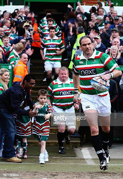 Martin Johnson leads his team out during the Leicester Tigers Legends Match between Louis Deacon's Tigers and Matt Hampson International Legends at...