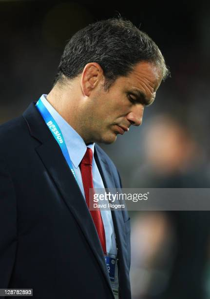 Martin Johnson manager of England looks down prior to quarter final two of the 2011 IRB Rugby World Cup between England and France at Eden Park on...