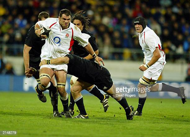 Martin Johnson of England charges forward during the Rugby Union International match between New Zealand and England held on June 14 2003 at The...