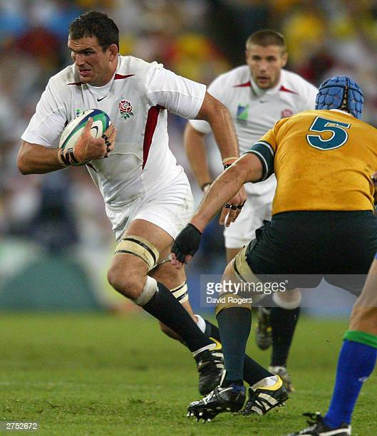 Martin Johnson of England in action during the Rugby World Cup Final match between Australia and England at Telstra Stadium November 22, 2003 in...