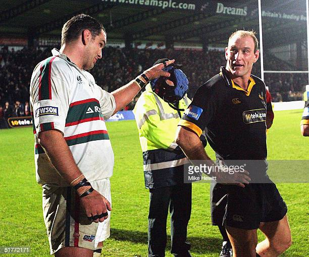 Martin Johnson of Leicester and Lawrence Dallaglio share a joke at the end of the Zurich Premiership match between London Wasps and Leicester Tigers...