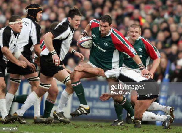 Martin Johnson of Leicester Tigers charge through the Newcastle defence during the Zurich Premiership match between Leicester Tigers and Newcastle...