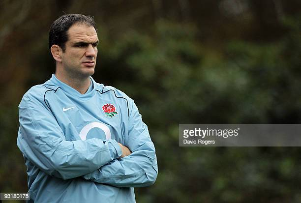 Martin Johnson the England head coach looks on during the England training session held at Pennyhill Park on November 18 2009 in Bagshot England