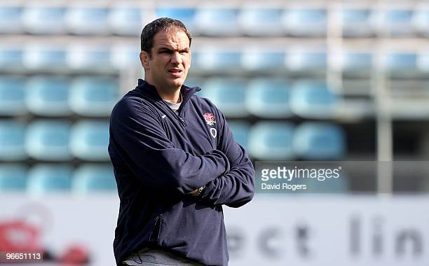 Martin Johnson the England head coach looks on during the England training session held at Stadio Flaminio on February 13 2010 in Rome Italy