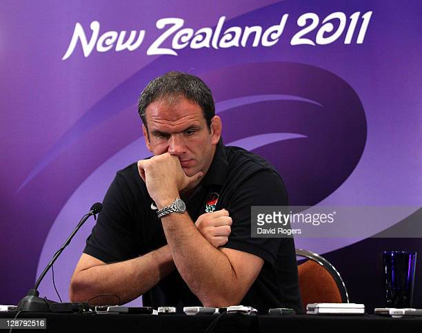 Martin Johnson the England manager faces the media at a conference held at the Crowne Plaza Hotel on October 9 2011 in Auckland New Zealand