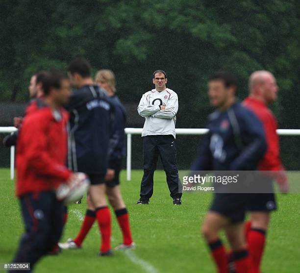 Martin Johnson the England Manager looks on during an England training session at Bath University on May 28 2008 in Bath England