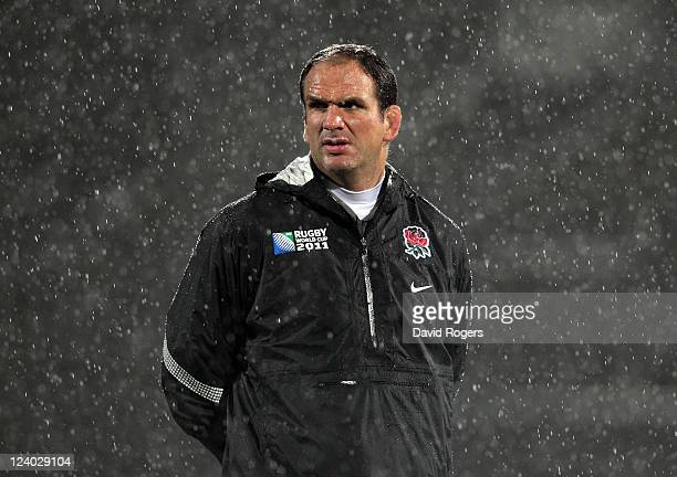 Martin Johnson the England manager looks on during an England IRB Rugby World Cup 2011 training session at Carisbrook on September 8 2011 in Dunedin...