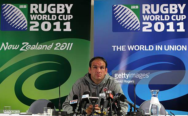 Martin Johnson the England manager talks to the media during an England IRB Rugby World Cup 2011 team announcement at the Southern Cross Hotel on...