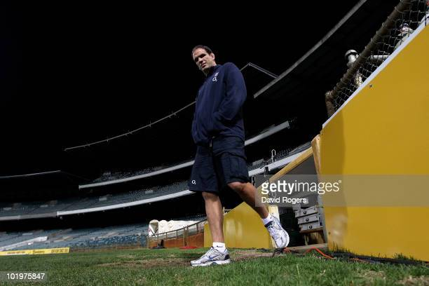Martin Johnson, the England manager walks from the dressing rooms prior to the England training session held at the Subiaco Oval on June 11, 2010 in...