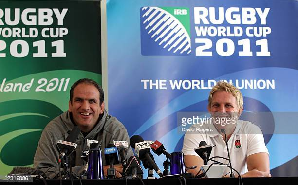 Martin Johnson the England team manager and Lewis Moody the team captain look on during an England IRB Rugby World Cup 2011 press conference at the...
