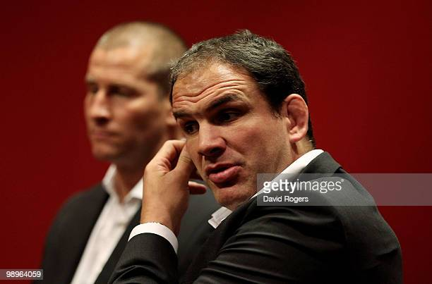 Martin Johnson the England team managerand Stuart Lancaster the Saxons coach face the media at a conference held at Twickenham on May 11 2010 in...