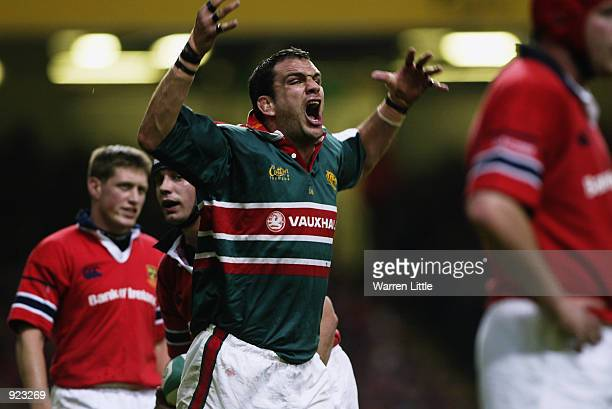 Martin Johnson the Leicester Captain, loses his cool during the Heineken Cup Final between Leicester Tigers and Munster at the Millennium Stadium,...