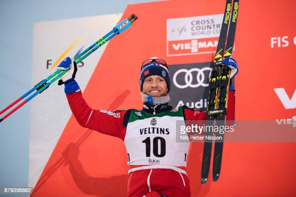 Martin Johnsrud Sundby of Norway celebrates his 2nd place during the mens cross country 15K pursuit competition at FIS World Cup Ruka Nordic season...