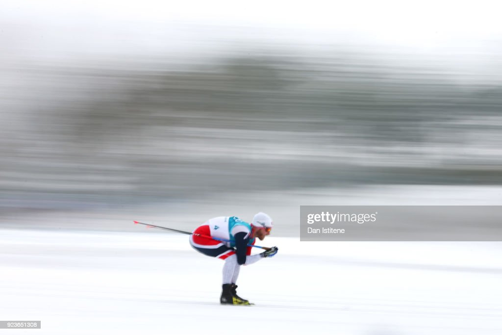 Martin Johnsrud Sundby of Norway competes during the Men's 50km Mass Start Classic on day 15 of the PyeongChang 2018 Winter Olympic Games at Alpensia Cross-Country Centre on February 24, 2018 in Pyeongchang-gun, South Korea.