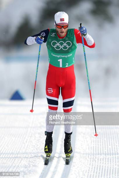 Martin Johnsrud Sundby of Norway competes in the second leg during CrossCountry Skiing men's 4x10km relay on day nine of the PyeongChang 2018 Winter...