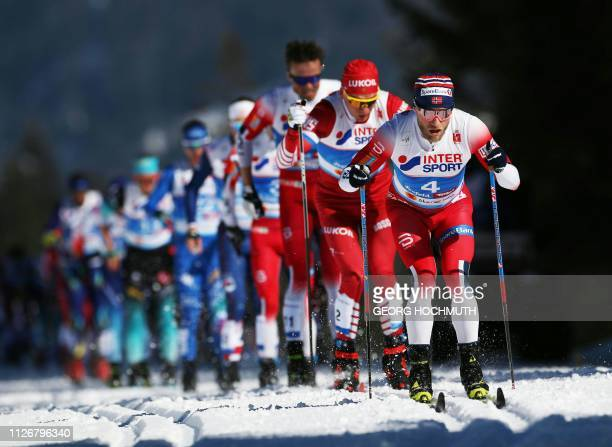 Martin Johnsrud Sundby of Norway leads during the Men's 30km crosscountry skiathlon event at the FIS Nordic Combined World ski Championships on...