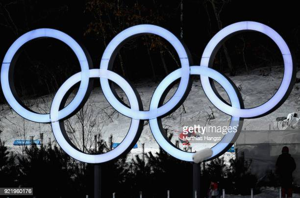 Martin Johnsrud Sundby of Norway passes the Olympic Rings as he competes during the Cross Country Men's Team Sprint Free Final on day 12 of the...