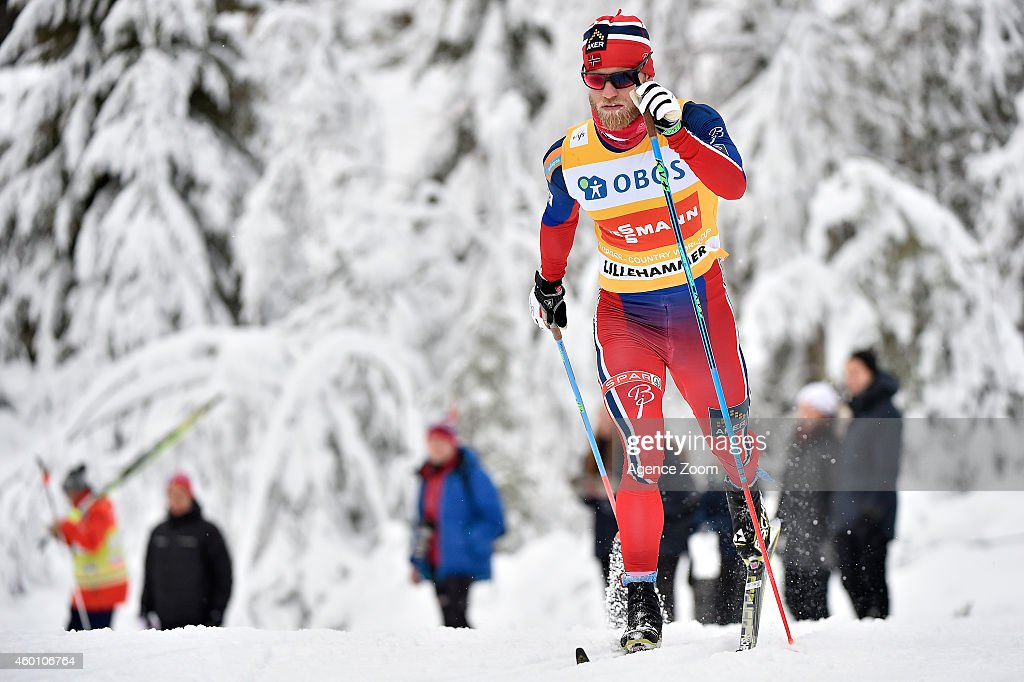 Martin Johnsrud Sundby of Norway takes 1st place during the FIS Cross-Country World Cup Men's 15 km and Women's 10km Pursuit on December 07, 2014 in Lillehammer, Norway.