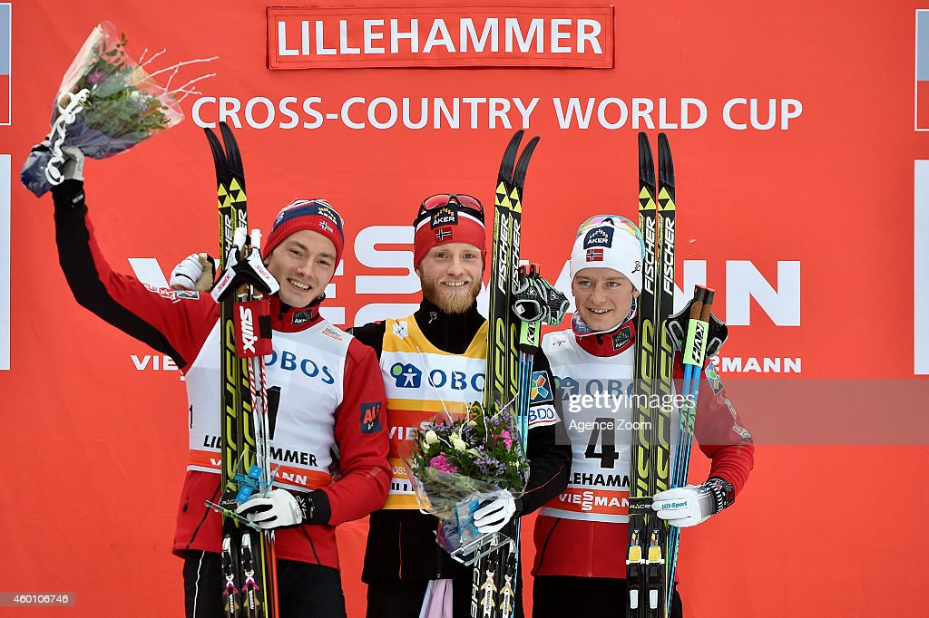 Martin Johnsrud Sundby of Norway takes 1st place, Finn Haagen Krogh of Norway takes 2nd place, Sjur Roethe of Norway takes 3rd place during the FIS Cross-Country World Cup Men's 15 km and Women's 10km Pursuit on December 07, 2014 in Lillehammer, Norway.