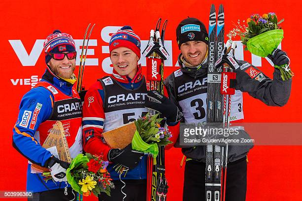 Martin Johnsrud Sundby of Norway takes 2nd place Finn Haagen Krogh of Norway takes 1st place Maurice Manificat of France takes 3rd place during the...