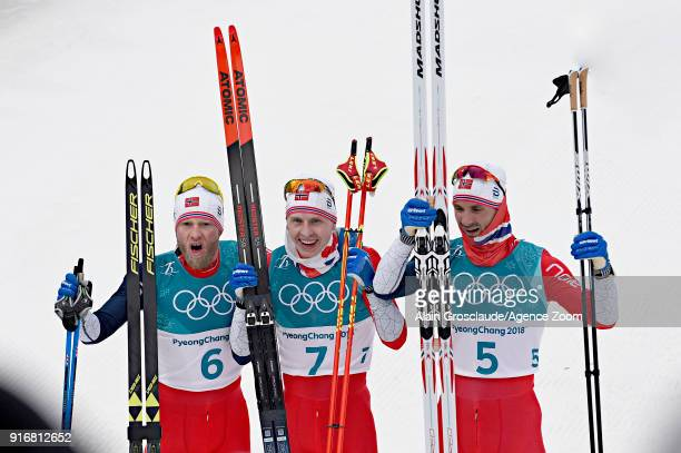 Martin Johnsrud Sundby of Norway wins the silver medal Simen Hegstad Krueger of Norway wins the gold medal Hans Christer Holund of Norway wins the...