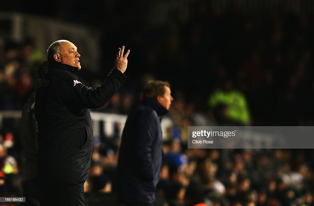Martin Jol the Fulham manager shouts instructions from the touchline during the Barclays Premier League match between Fulham and Queens Park Rangers at Craven Cottage on April 1, 2013 in London, England.