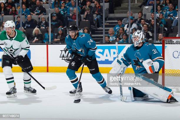 Martin Jones and Dylan DeMelo of the San Jose Sharks defend the net against the Dallas Stars at SAP Center on February 18 2018 in San Jose California