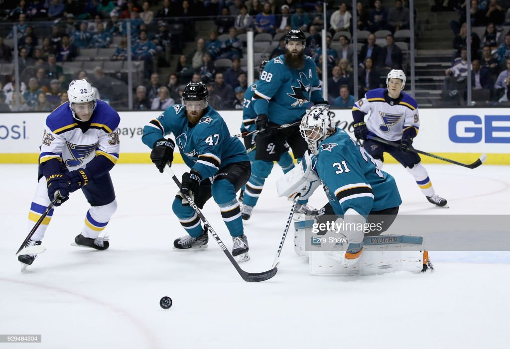 Martin Jones #31 and Joakim Ryan #47 of the San Jose Sharks stop Tage Thompson #32 of the St. Louis Blues from scoring in the first period at SAP Center on March 8, 2018 in San Jose, California.