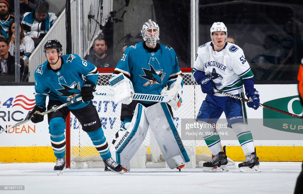 Martin Jones #31 and Justin Braun #61 of the San Jose Sharks defend the net against Bo Horvat #53 of the Vancouver Canucks at SAP Center on February 15, 2018 in San Jose, California.