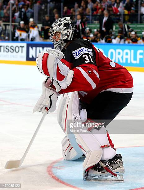Martin Jones goaltender of Canada looks on during the IIHF World Championship group A match between Canada and Germany on May 3 2015 in Prague Czech...