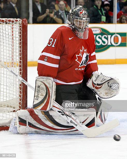 Martin Jones of Team Canada stops the puck during the 2010 IIHF World Junior Championship Tournament Gold Medal game against Team USA on January 5...