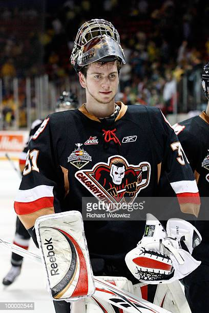 Martin Jones of the Calgary Hitmen leaves the ice after stopping 38 of 39 shots during the game against the Brandon Wheat Kings at the 2010...