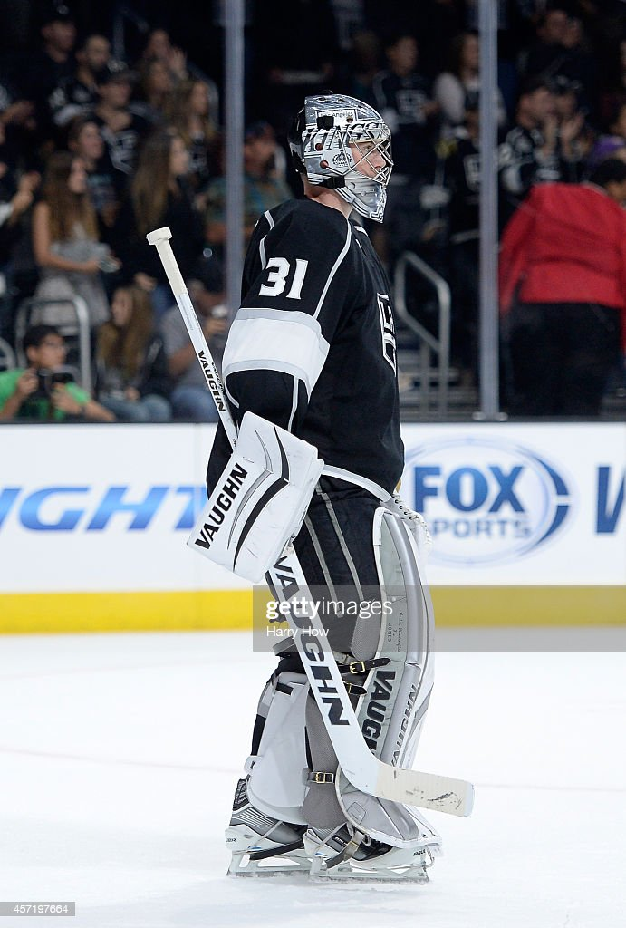 Martin Jones #31 of the Los Angeles Kings in net during a 4-1 win over the Winnipeg Jets at Staples Center on October 12, 2014 in Los Angeles, California.