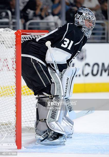 Martin Jones of the Los Angeles Kings in net during a 41 win over the Winnipeg Jets at Staples Center on October 12 2014 in Los Angeles California