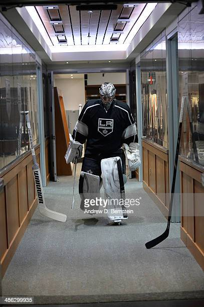 Martin Jones of the Los Angeles Kings makes his way to the ice to face the San Jose Sharks in Game Three of the First Round of the 2014 Stanley Cup...