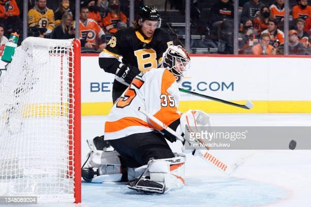 Martin Jones of the Philadelphia Flyers blocks a shot against the Boston Bruins at Wells Fargo Center on October 20, 2021 in Philadelphia,...