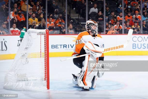 Martin Jones of the Philadelphia Flyers looks on against the Boston Bruins at Wells Fargo Center on October 20, 2021 in Philadelphia, Pennsylvania.