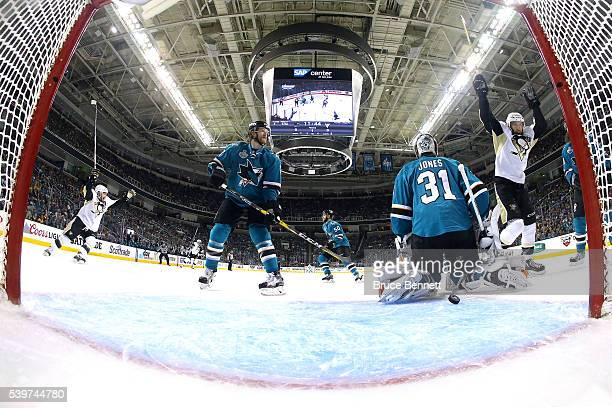 Martin Jones of the San Jose Sharks allows a goal to Brian Dumoulin of the Pittsburgh Penguins in the first period of Game Six of the 2016 NHL...