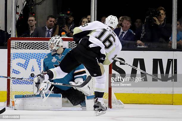Martin Jones of the San Jose Sharks allows a goal to Eric Fehr of the Pittsburgh Penguins in the third period of Game Four of the 2016 NHL Stanley...
