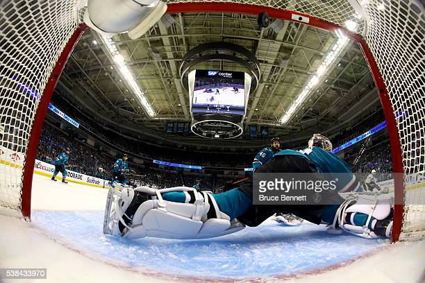 Martin Jones of the San Jose Sharks allows a goal to Ian Cole of the Pittsburgh Penguins in the first period of Game Four of the 2016 NHL Stanley Cup...