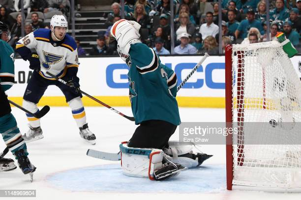 Martin Jones of the San Jose Sharks allows a goal to Oskar Sundqvist of the St Louis Blues in the third period of Game Two of the Western Conference...