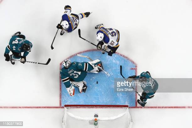 Martin Jones of the San Jose Sharks allows a second goal to Jaden Schwartz of the St Louis Blues in Game Five of the Western Conference Final during...