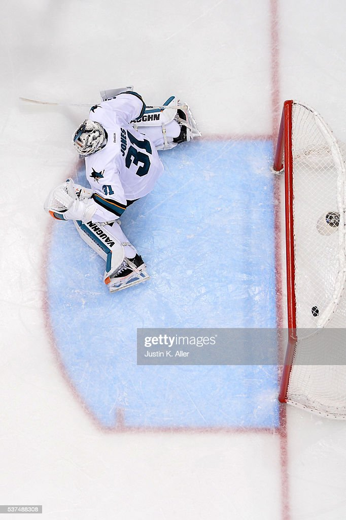 Martin Jones #31 of the San Jose Sharks allows the game-winning goal to Conor Sheary #43 of the Pittsburgh Penguins (not pictured) in overtime during Game Two of the 2016 NHL Stanley Cup Final at Consol Energy Center on June 1, 2016 in Pittsburgh, Pennsylvania.