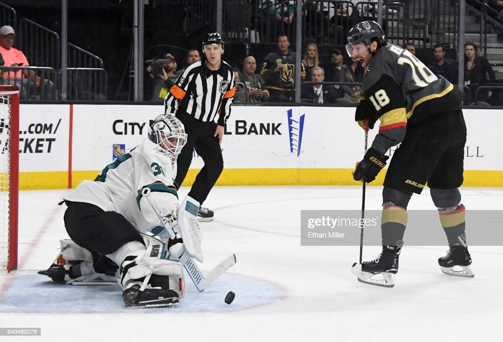 Martin Jones #31 of the San Jose Sharks blocks a shot by James Neal #18 of the Vegas Golden Knights in the second period of their game at T-Mobile Arena on March 31, 2018 in Las Vegas, Nevada.