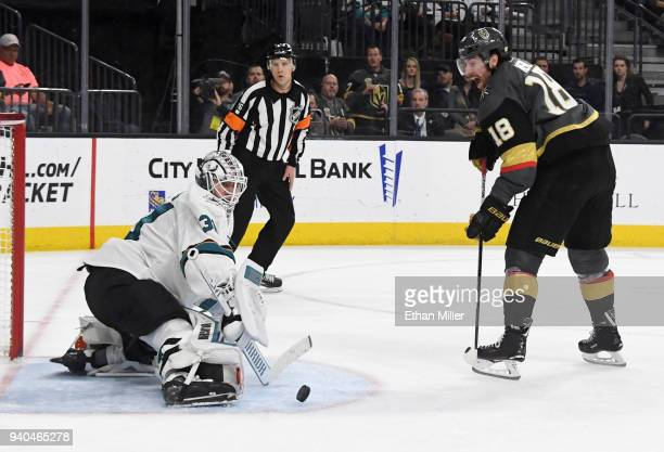 Martin Jones of the San Jose Sharks blocks a shot by James Neal of the Vegas Golden Knights in the second period of their game at TMobile Arena on...