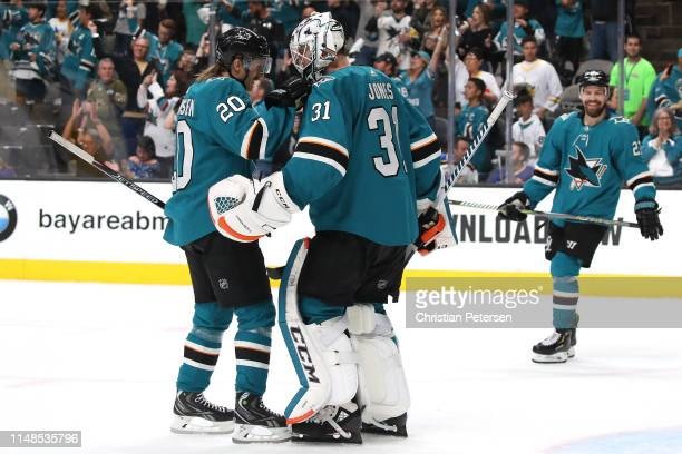 Martin Jones of the San Jose Sharks celebrates with Marcus Sorensen after defeating the St Louis Blues in Game One of the Western Conference Finals...