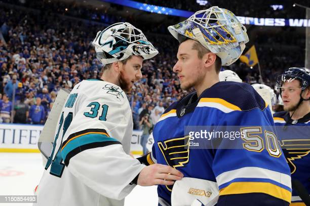 Martin Jones of the San Jose Sharks congratulates Jordan Binnington of the St Louis Blues after Game Six of the Western Conference Finals during the...